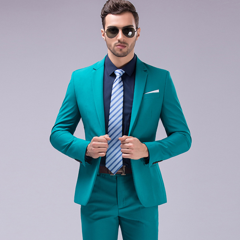 (Jacket+Pants) Luxury Men Wedding Suit Male Blazers Slim Fit Suits For Men Costume Business Formal Party Groom Tuxedos Suit Set