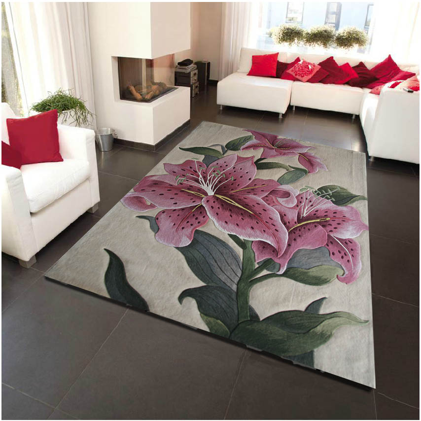 Mat For Home Parlor Bedroom Living Room 9 Dimensions: Lily Flowers On Wool Large Size Carpets For Parlor Living