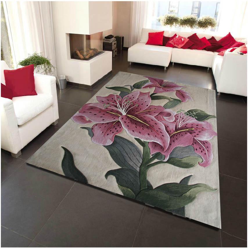 Lys fleurs sur laine grande taille tapis pour salon chambre classique tapis tapis décoration sol tapis Floral tapis