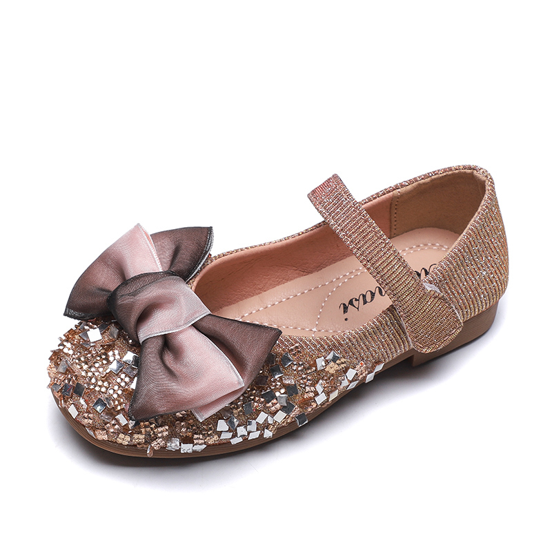 ULKNN Rhinestone Girl Single Shoes Princess Shoes 2019 Autumn New Children's Cute Bow Flats Gold Silver Size 21-36