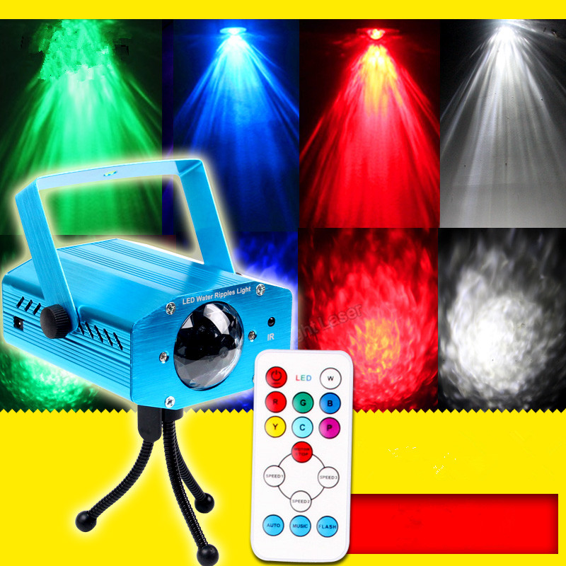 Remote control LED water ripples linght 7 color marine dynamic water ripple effect lights KTV background stage lighting