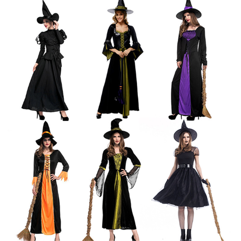 new Fashion Deluxe Adult Witch Costume Halloween For Women Sexy Evil Costume Masquerade Carnival Black Witch Cosplay Party Dress