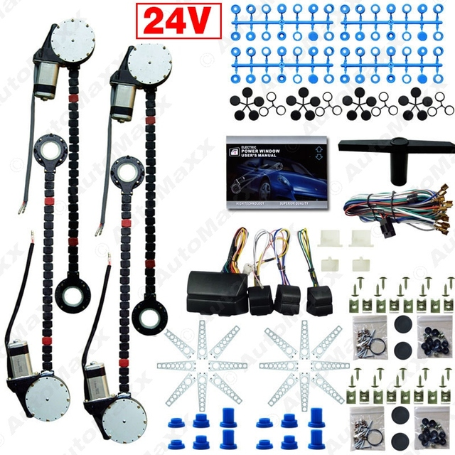 DC24V Car/Truck Universal 4 Doors Electronice Power Window kits With 8pcs/Set Swithces & Harness #J-4498