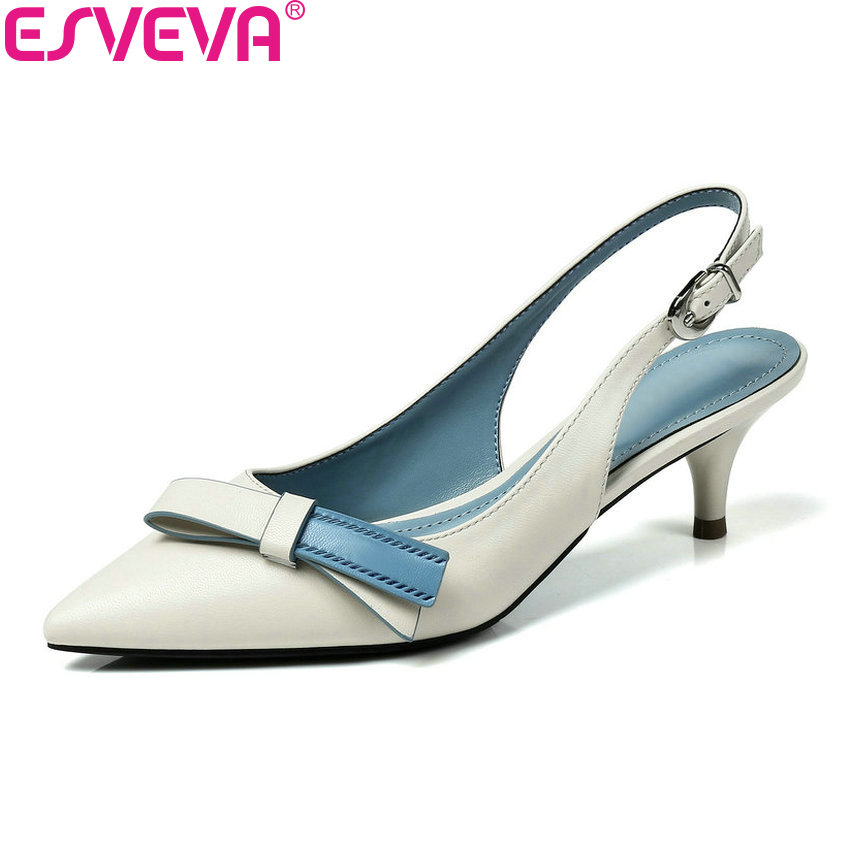ESVEVA 2018 Women Pumps Slingback Shoes Buckle Butterfly-knot Cow Leather PU Pointed Toe Thin High Heels Pumps Shoes Size 34-39 vallkin 2017 women pumps western style butterfly knot med heel pu kid suede pointed toe slingback ladies summer shoes size 34 39