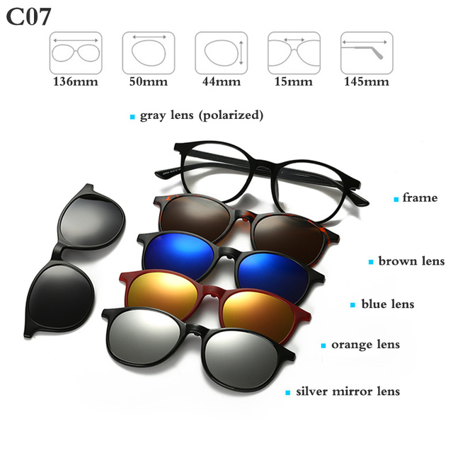 Fashion Optical Spectacle Frame Men Women With 5 Clip On Sunglasses Polarized Magnetic Glasses For Male Myopia Eyeglasses RS159 2