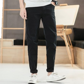 Mens Casual Trousers Men's 2019 Early Spring Straight Cotton Trousers Wild Loose Men's Pants Zipper Mid-waist For Work Travel