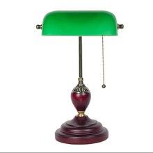Led e27 Vintage Chino puerta de Madera de Cristal LLEVÓ La Lámpara de Luz Verde. Lámpara de mesa Lamp. Desk. LED Lámpara de Escritorio De Estudio Dormitorio