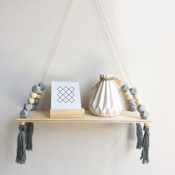 Creative Kids Room Wooden Beads Tassel Wall Shelf Room Storage Organization swing shelf Wall Hanging Decor 1