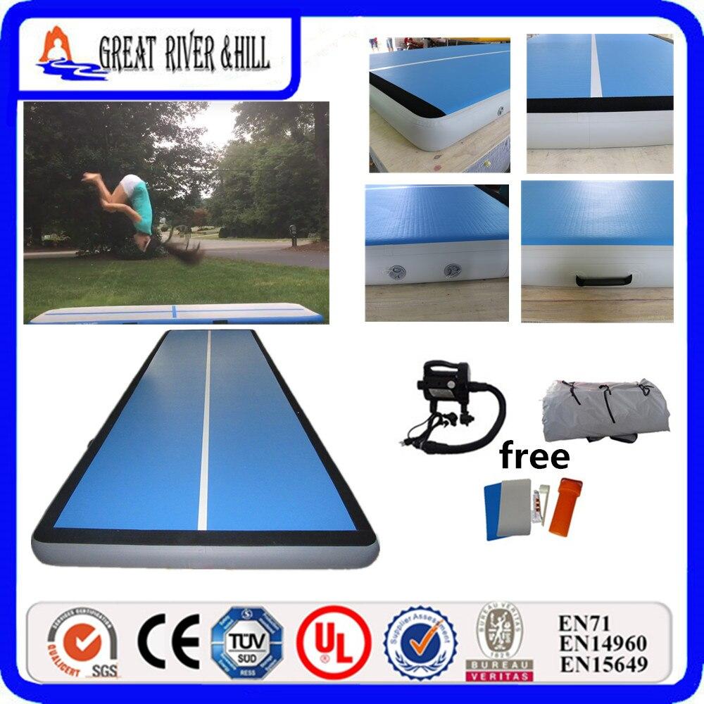 Tapis gonflable de gymnastique d'air de la grande piste 6 m x 2 m x 20 cm d'air de colline de rivière pour culbuter