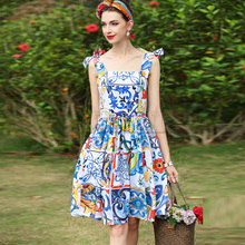 High Quality new Designer Fashion Summer Dress Womens CUERLY Strap Blue Amazing Flower Print Elegant Casual Beach