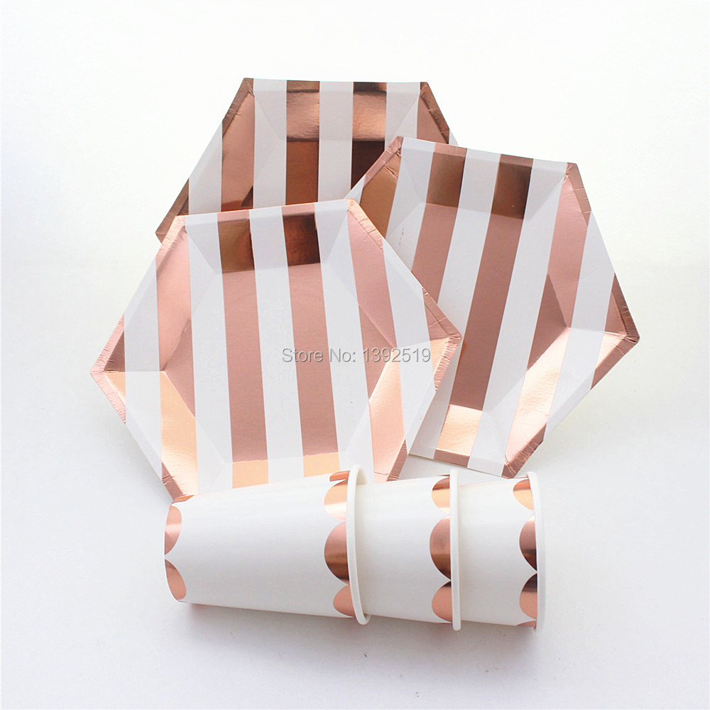 wholesale cheap metallic rosegold paper plates tableware for wedding bridal shower party 1st birthday