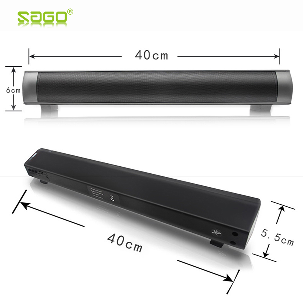 цена на Sago LP-08 Portable Bluetooth Speakers Stereo Sound HI-FI USB MP3 TF Card Bass Phone Soundbar for Computer PC Tablet TV