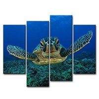 4 Panels Turtles In The Blue Sea Oil Paintings Canvas Arts For Gift Home Decoration Pictures