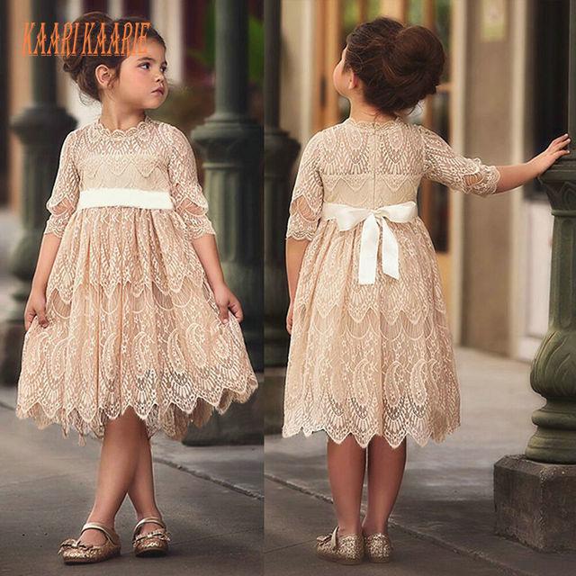 9469a7d92d Cute Champagne Lace Flower Girl Dresses For Weddings 2018 First Communion  Dresses For Little Girls O-Neck Zipper Knee-Length New