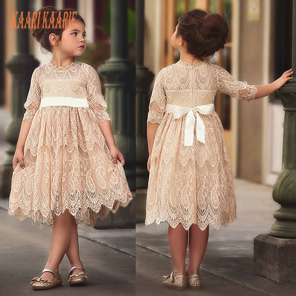 Cute Champagne Lace   Flower     Girl     Dresses   For Weddings 2019 First Communion   Dresses   For Little   Girls   O-Neck Zipper Knee-Length New