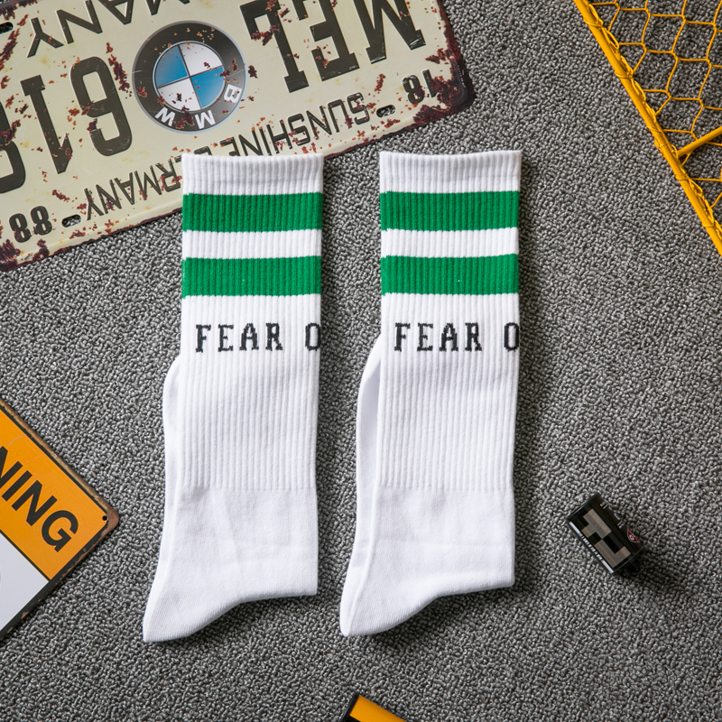 The New Tide Socks FEAR FO GOD Two Stripes Casual Socks Solid Color Cotton Socks Comfortable Soft Personality Letter Stockings