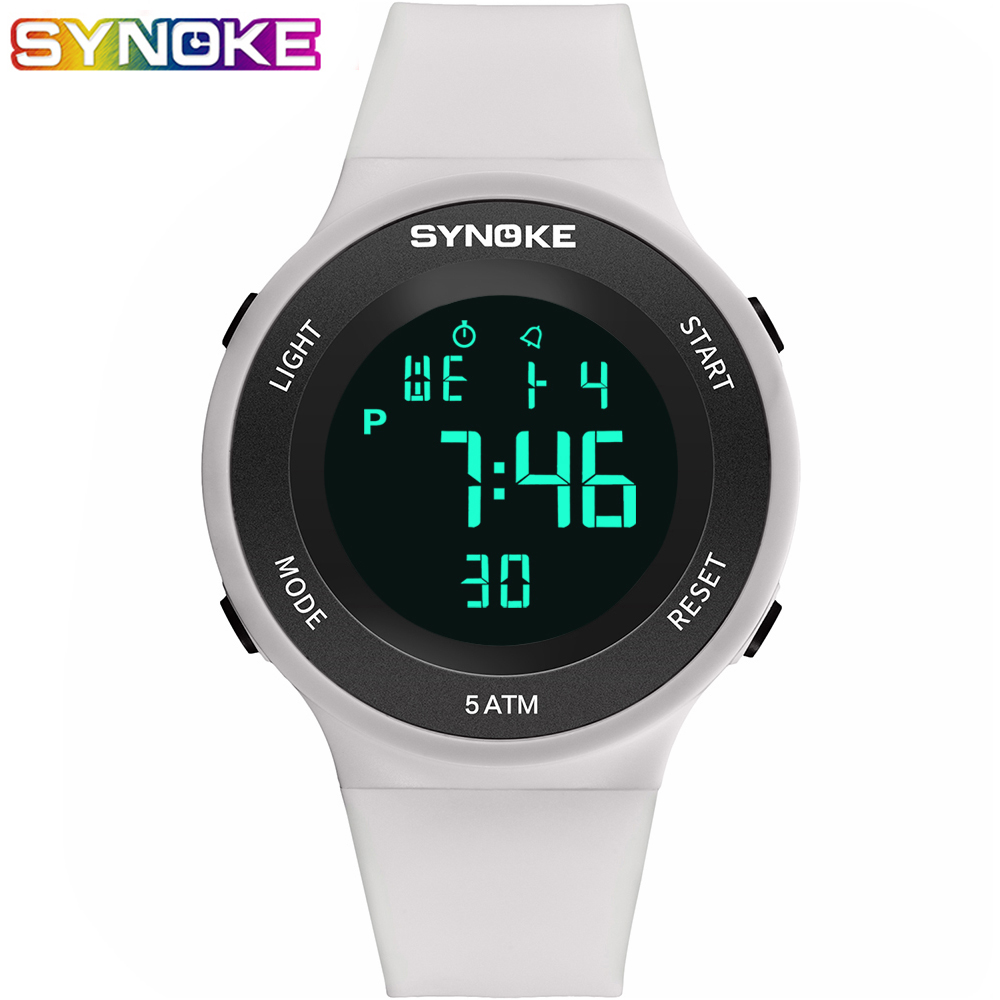 SYNOKE Led часы Digital Female Watches Women Fashion White Waterproof  Wrist Watch Electronic Female Outdoor Running  Clock