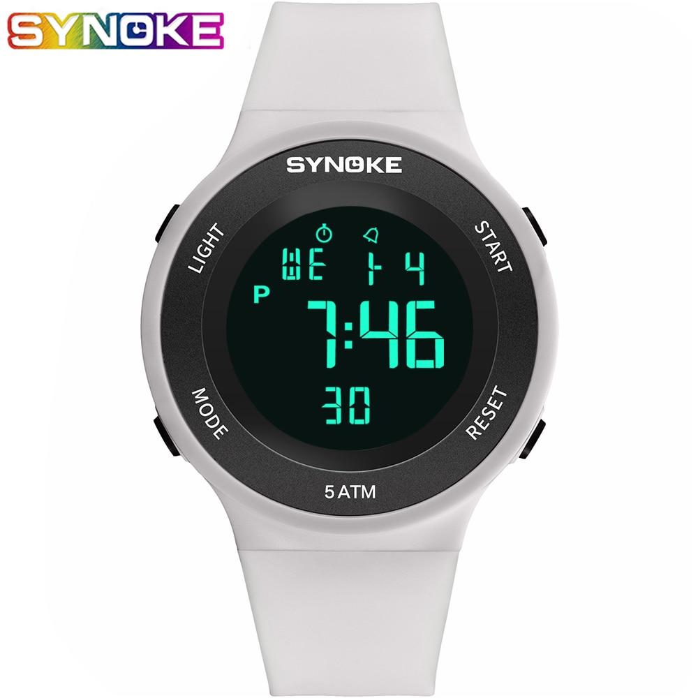 SYNOKE Led часы Digital Female Watches Women Fashion White Waterproof  Wrist Watch Electronic Female Outdoor Running  Clock