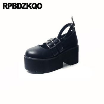 pumps ankle strap belts thick black cheap mary jane 3 inch creepers ladies platform shoes fashion 2018 high heels round toe new