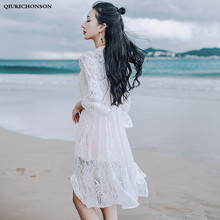 Long White Lace Cardigan Women Summer Tops Bohemian Kimono Beach Sun-proof Cover Ups Fairy Flare Sleeve Floral Lace Blouses все цены