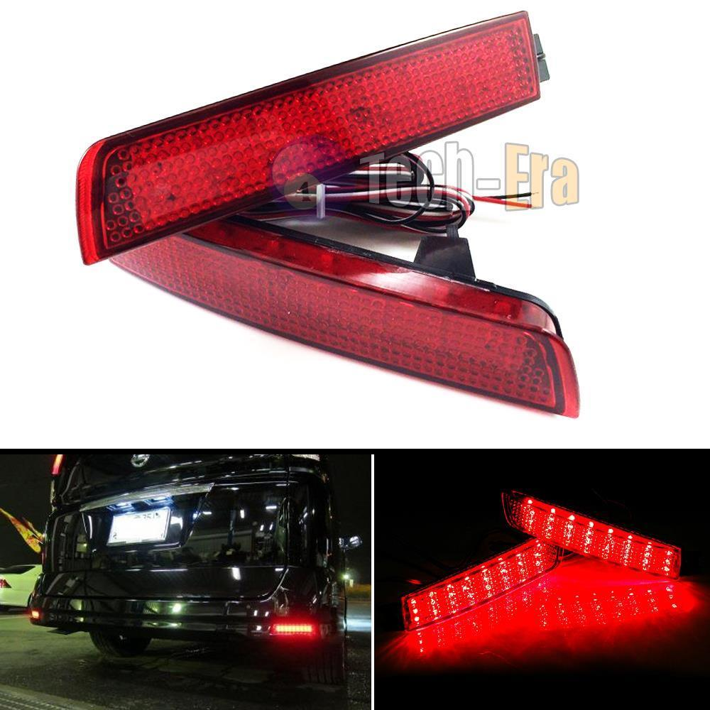 2X Red Lens Rear Bumper Reflector LED Tail Brake Light Fog Backup Lamp For Nissan Juke Z51 Murano For Infiniti FX35 FX светильник 3d light fx авто red