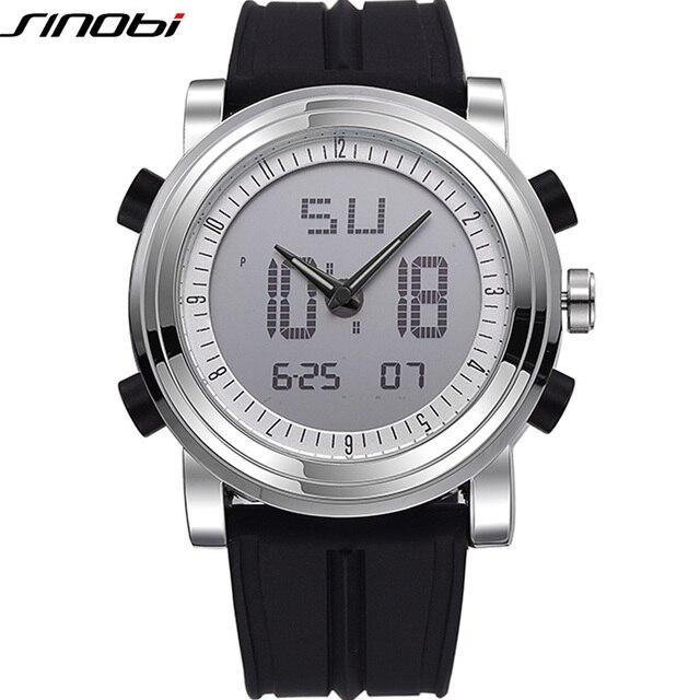 SINOBI, спортивные часы для мужчин для женщин двойной дисплей Аналоговый Цифровой светодиодный электронные кварцевые наручные часы для мужчин...