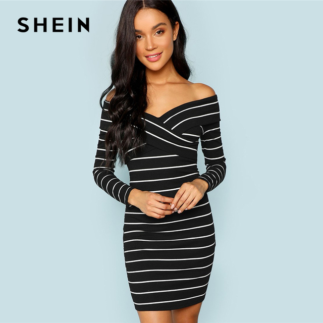 68a6c2ac14 SHEIN Black and White Cross Criss Striped Bodycon Dress Party Sexy V Neck Long  Sleeve Dresses Women Autumn Elegant Mini Dress