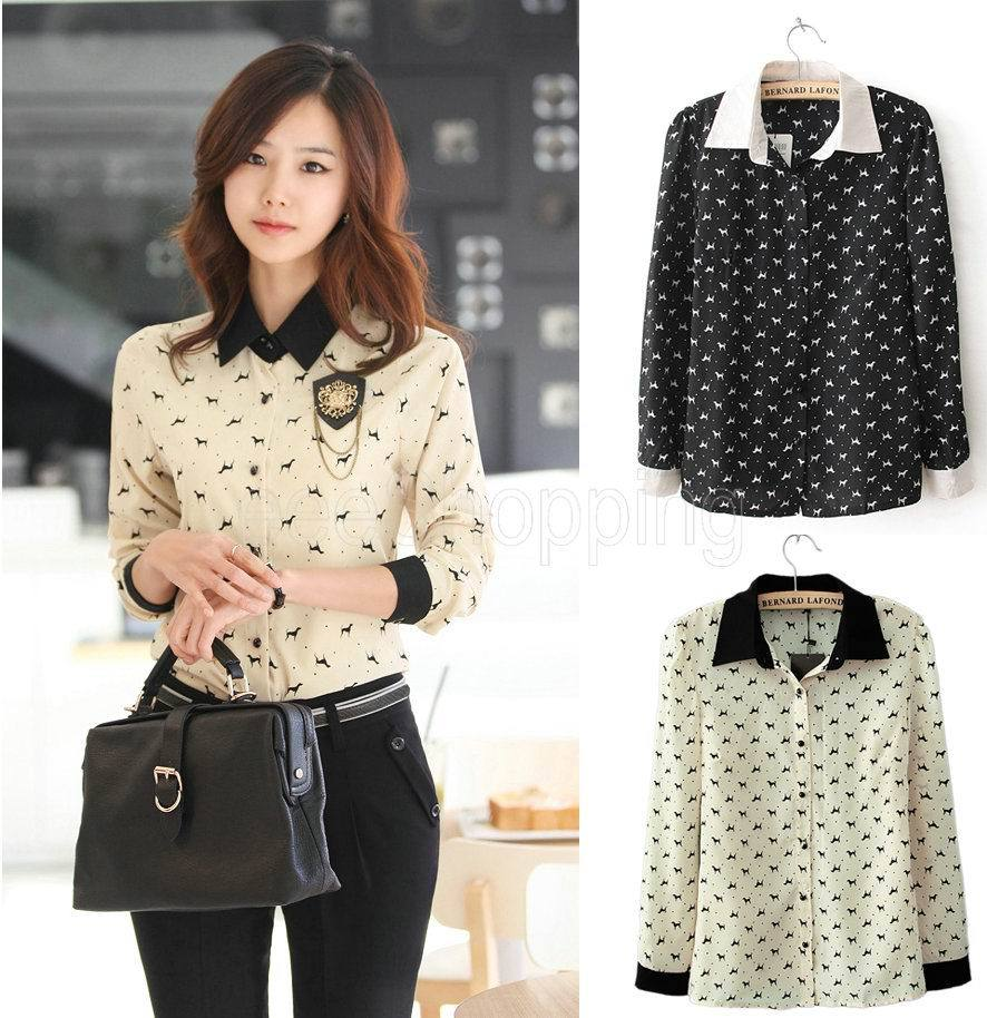 1e85c7317 Q409 Women Ladies Long Sleeve Dog Print Patchwork Button Down Autumn Blouse  Tops Vintage Shirts Formal Black Beige Free Shipping