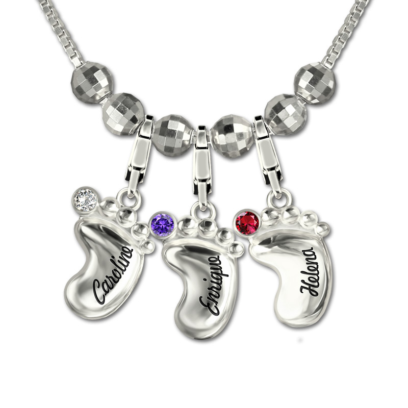 AILIN Engraved Name Baby Feet Necklace with Birthstone 3D Sterling Silver Personalized Necklace for Mother цена и фото