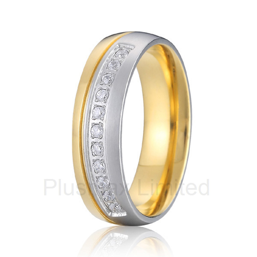 best anniversary gift for women gold color cheap pure titanium jewelry fashion wedding band rings anel de casamento cheap pure titanium satin surface gold color colorful stone cheap pure titanium promise wedding band rings