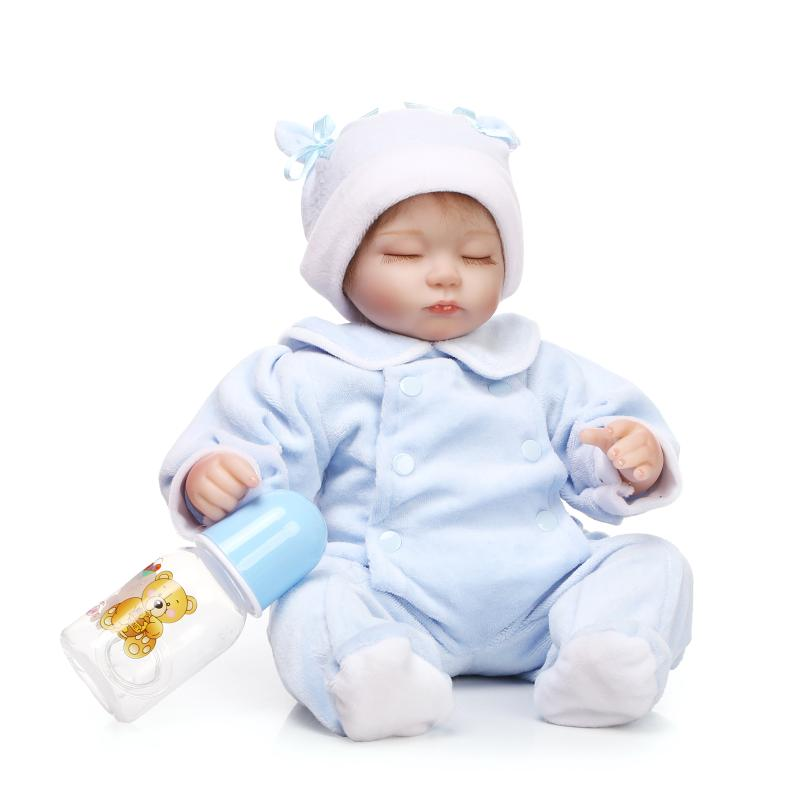 ФОТО 17 inch 42 cm  baby reborn Silicone dolls, lifelike doll reborn Blue leotard cute doll eyes