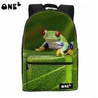 ONE2 Design Fashion Animal School Bag Green Frog Laptop Backpack Teenager Boys Girls Women Man College