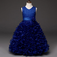 100 150cm New 7 Colors Winter Girls Dress Wedding New Year Costumes Children Dress Floral Lace