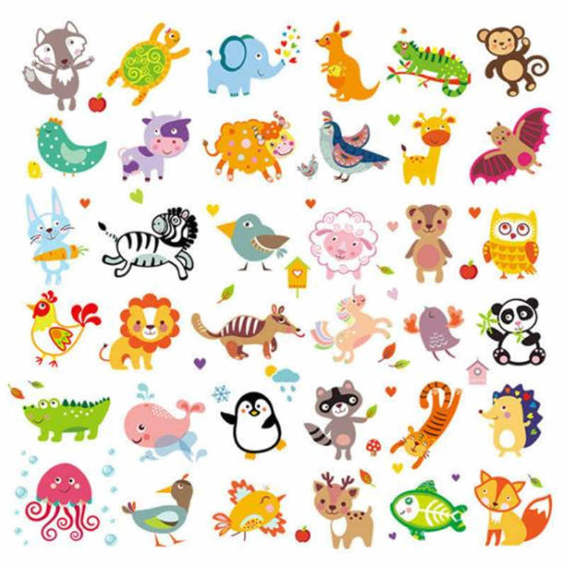 Cute PVC Patch 36pcs animal deal with it Clothes Heat Transfer Printing T shirt baby iron on patches for clothing girl Stickers