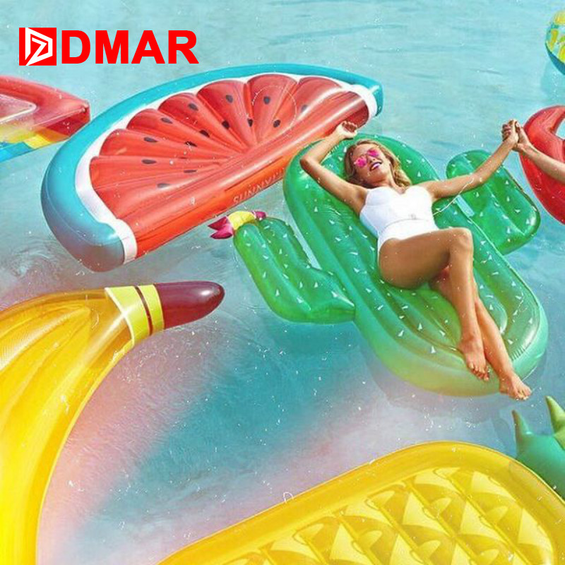 DMAR 185cm Inflatable Giant Pool Float Mattress Toys Watermelon Pineapple Cactus Beach Water Swimming Ring Lifebuoy Sea Party signage