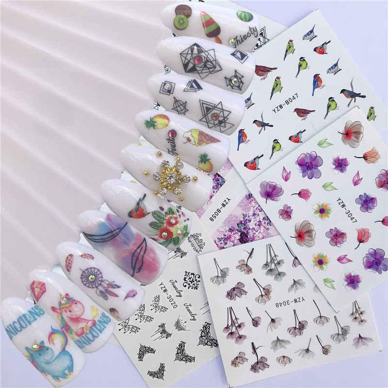 10 Gaya Ice Cream/Cat/Hitam dan Putih Busur Kuku Seni Air Transfer Stiker Stiker DIY Tips