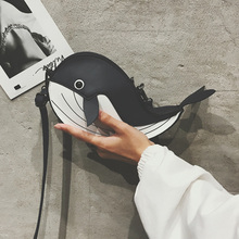 Fashion Funny whale Shoulder Bag Personality Design Pu Leather Coin Purse Womens Shopping Party Mini Messenger