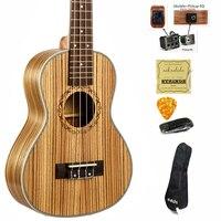 23 inch Ukulele Concert Zebra wood Hawaii 4 Strings Guitar Electric Ukelele guitarra music instrument Gitar with Pickup EQ