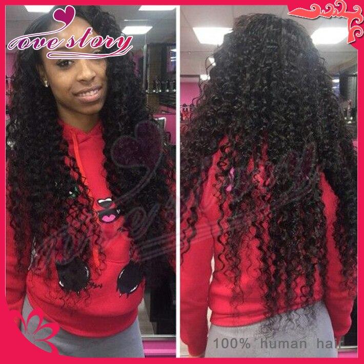 30 Inch Long Kinky Curly Black Wigs Brazilian Lace Front