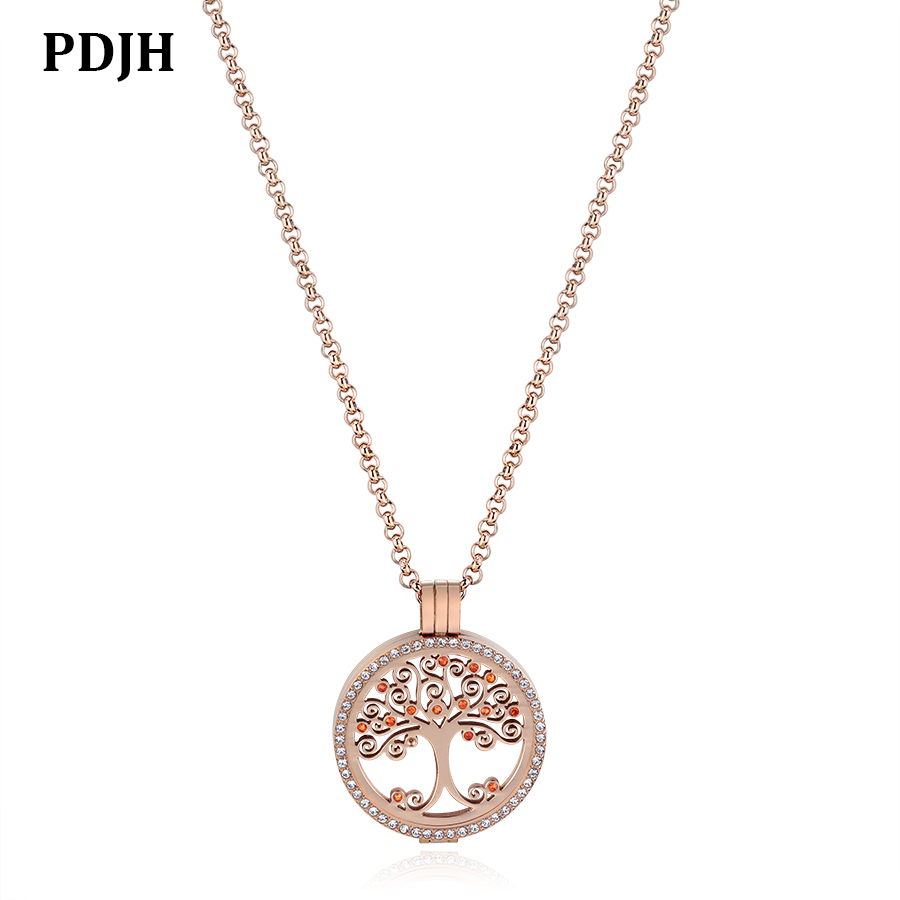 PDJH Pendant Charms Jewelry Tree Of Life Coin With Full Crystal In IP Rose Gold Plating
