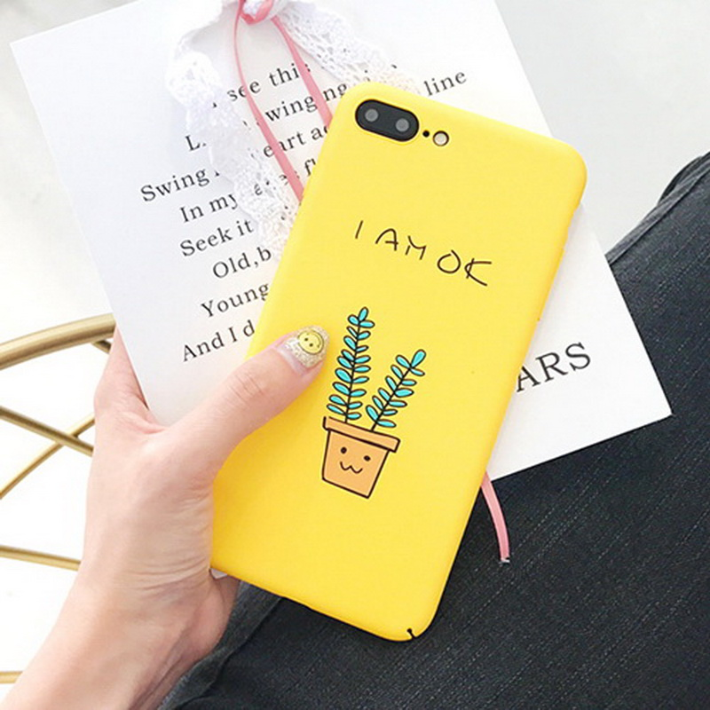 New Cute Yellow Cactus Letter PC Phone Cases Cover For IPhone 7 7Plus 6 6s 6Plus 6sPlus Potted