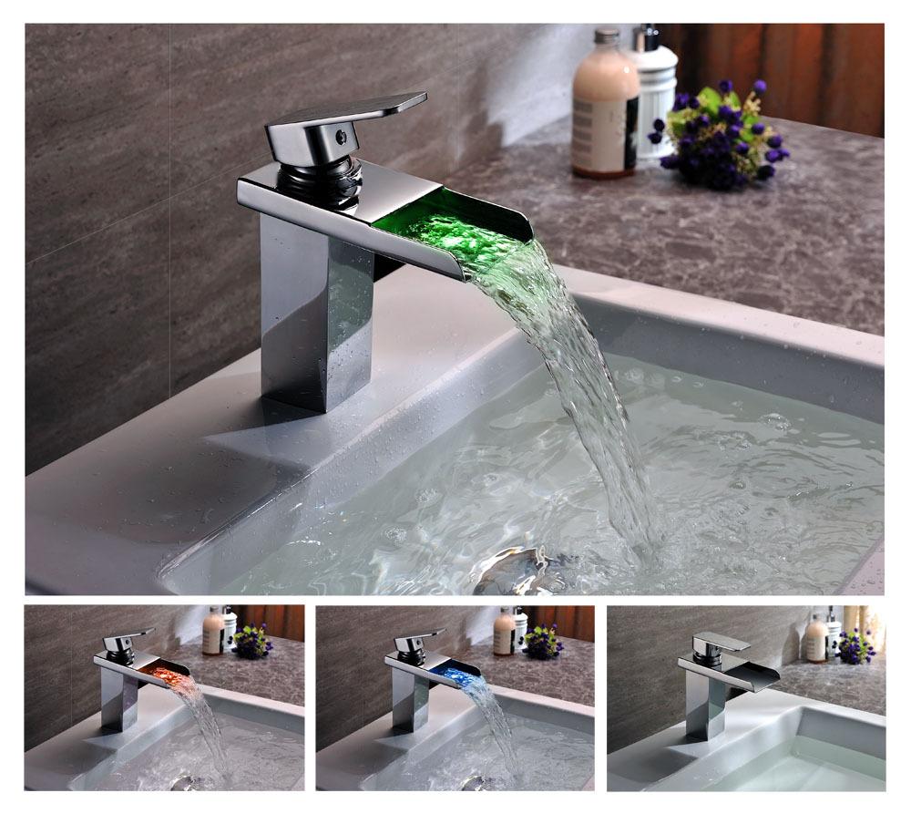 LED Waterfall Bathroom Faucet Light Color Change Temperature Sensor Handles  Basin Mixer Water Tap Torneira Banheiro. torneira banheiro Picture   More Detailed Picture about LED