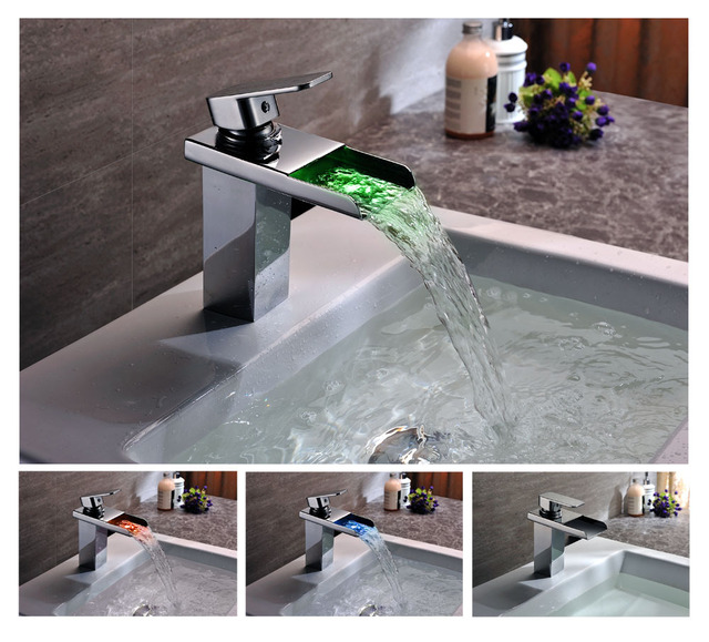 Bathroom Faucet Light led waterfall bathroom faucet light color change temperature
