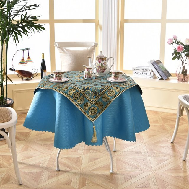 Latest 2 Pcs/set Round 140cm Bright Blue Sky Dinner Linens Luxurious Sequin Side  Tablecloth