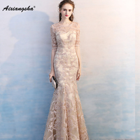 Sexy Double V Neck Champagne Long Evening Dresses 2017 Sleeveless Tulle With Lace Appliques Mermaid Prom