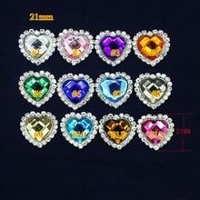 100 шт./лот/партия, сердце горный хрусталь Кнопка для heaband шифон цветок DIY валентинки сердце