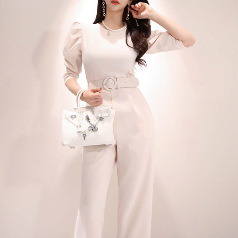 Jumpsuit   For Women Fashion overalls Summer 2019 Office Lady Female Elegant Long romper   Jumpsuit   With belt
