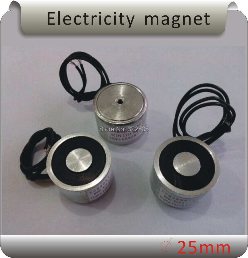 Free shipping ZYE1-P25/20 5KG(50N) suction DC Solenoid Electromagnet,Round Electro Holding Magnet Electro 12V 24V 20 x 15mm dc electro holding magnet blue silver black 22cm cable
