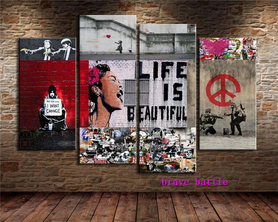 Banksy Graffiti Su Tela Dipinto Living Room Home Decor Murale Moderna Pittura A Olio di Arte