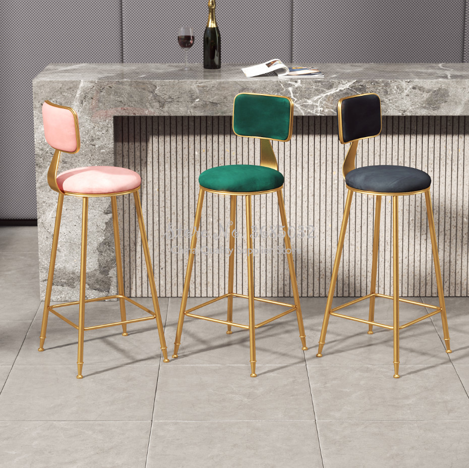 D,Nordic Ins Simple Gold Bar Chair Front Desk Restaurant Leisure Chair Backrest High Footstool Subnet Red Bar Stool